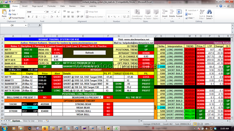 Excel/vba based automated trading system