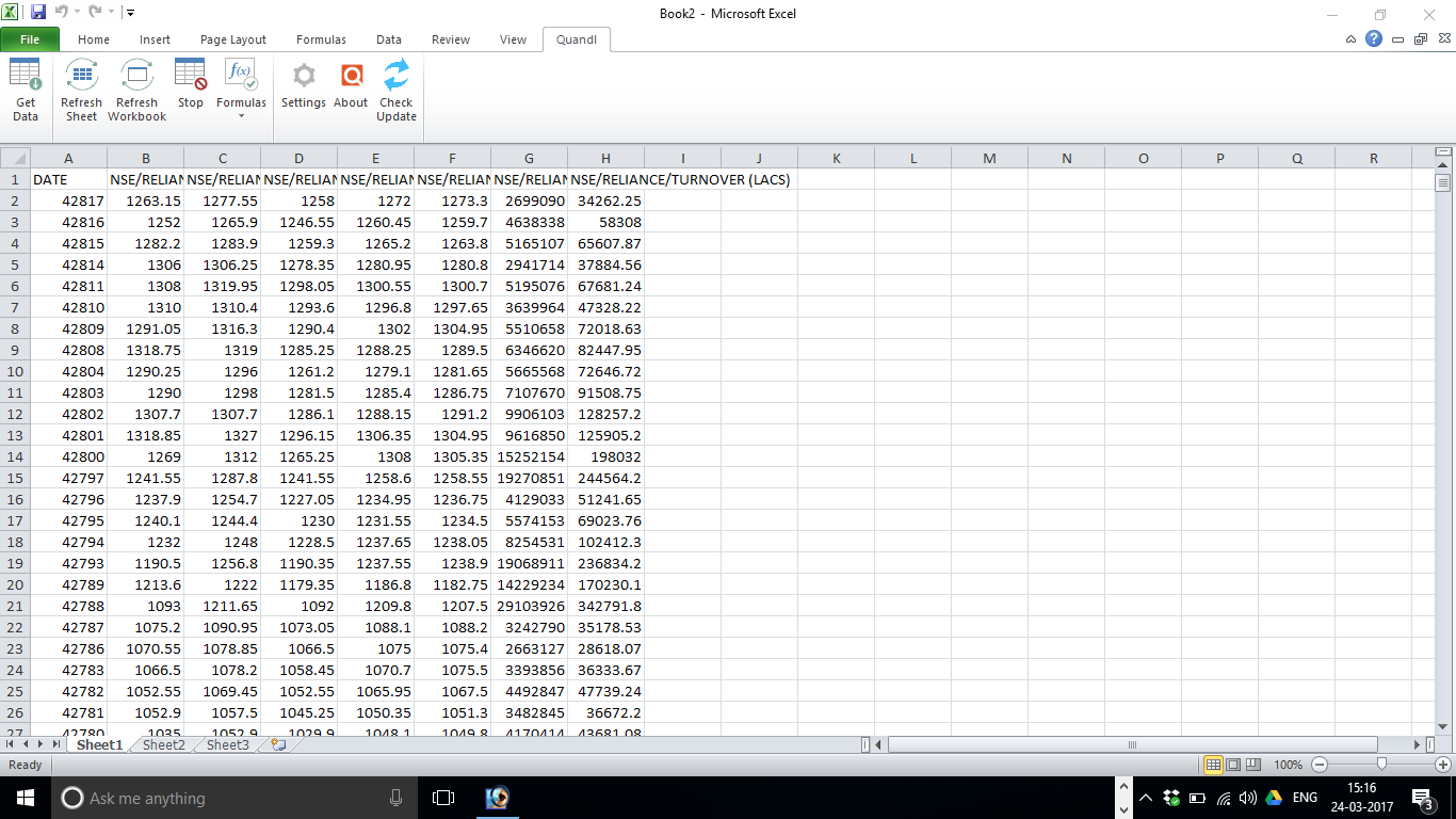 Excel stock research