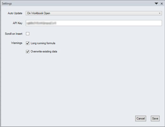 Quandl Excel API