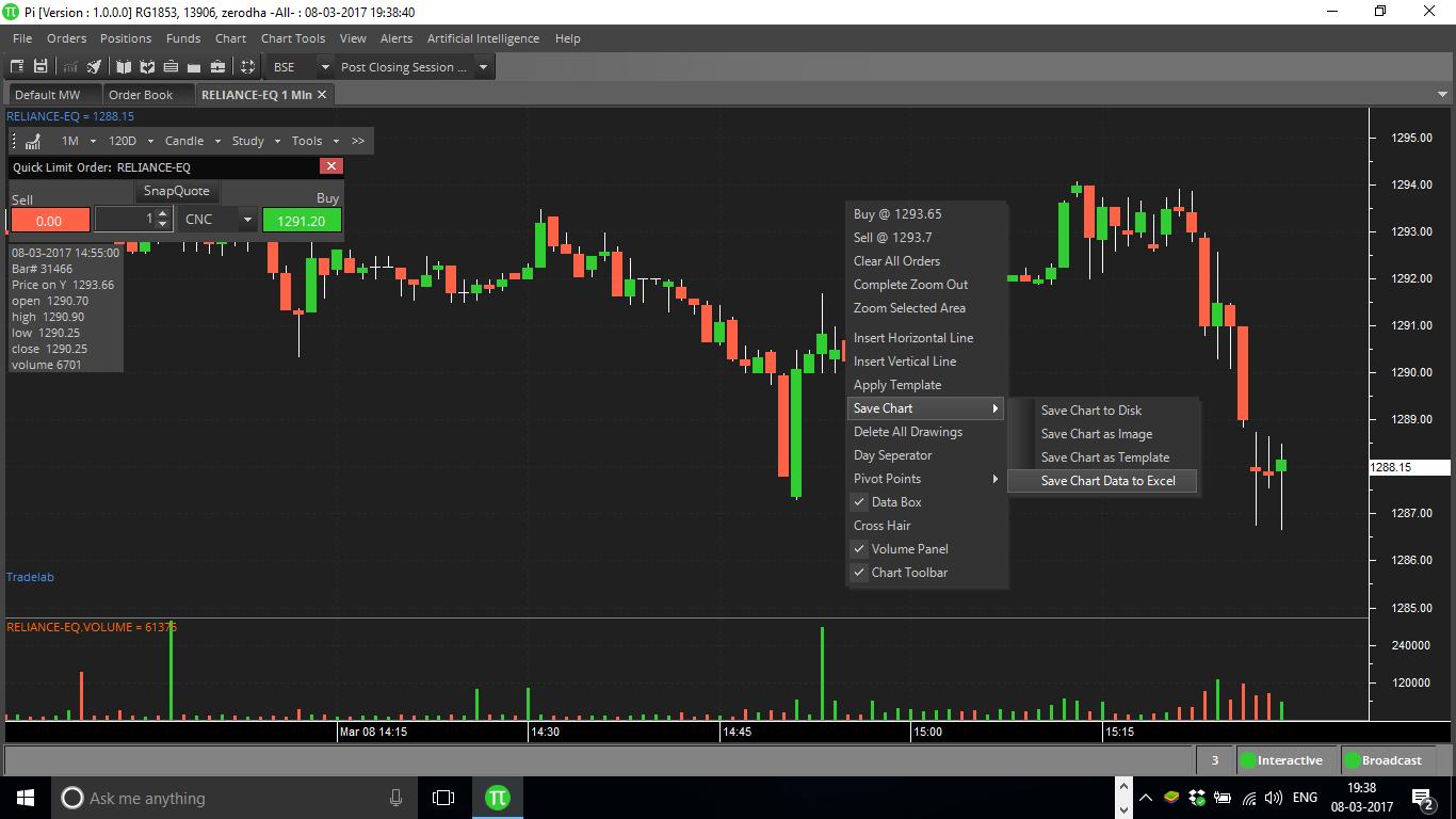 Save Chart Data To Excel Zerodha Pi