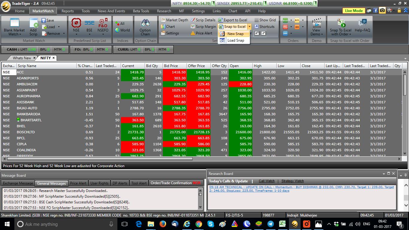 Sharekhan-TradeTiger-Snap-To-Excel
