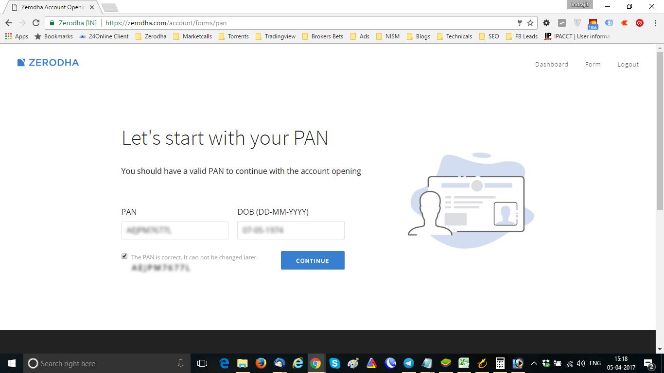 Zerodha Enter PAN Details