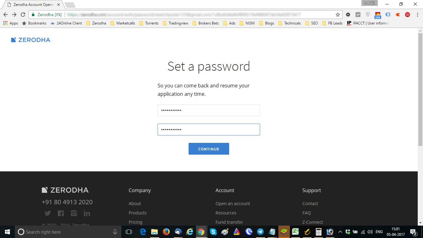 Zerodha Set Password