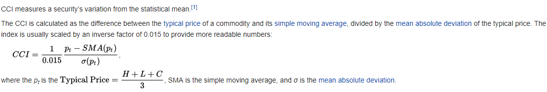 Commodity Channel Index Formula