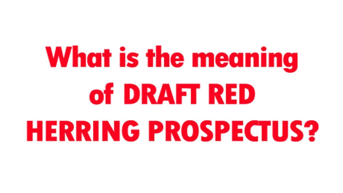 Draft Red Herring Prospectus