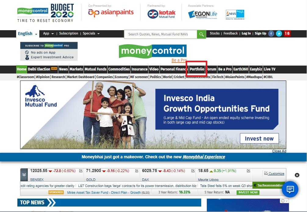 Moneycontrol Portfolio