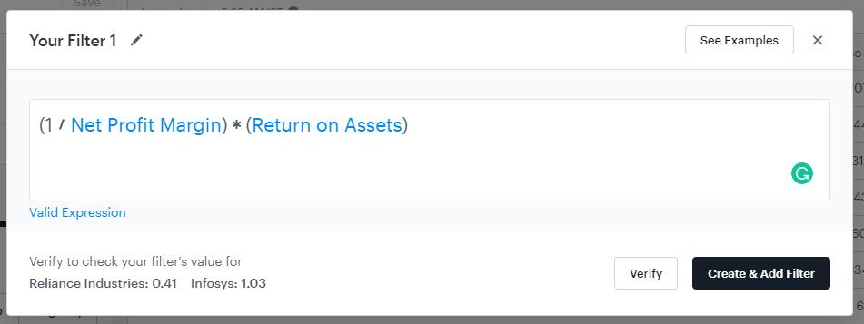 The ticker tape the Fundamental stock screener.