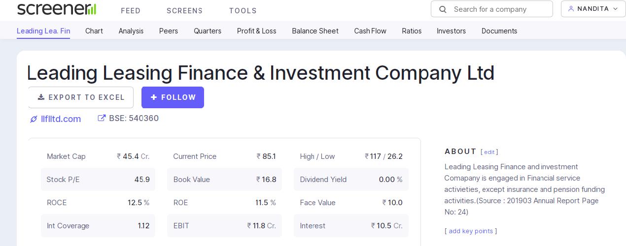 Quaterly chart using fundamental stock analysis