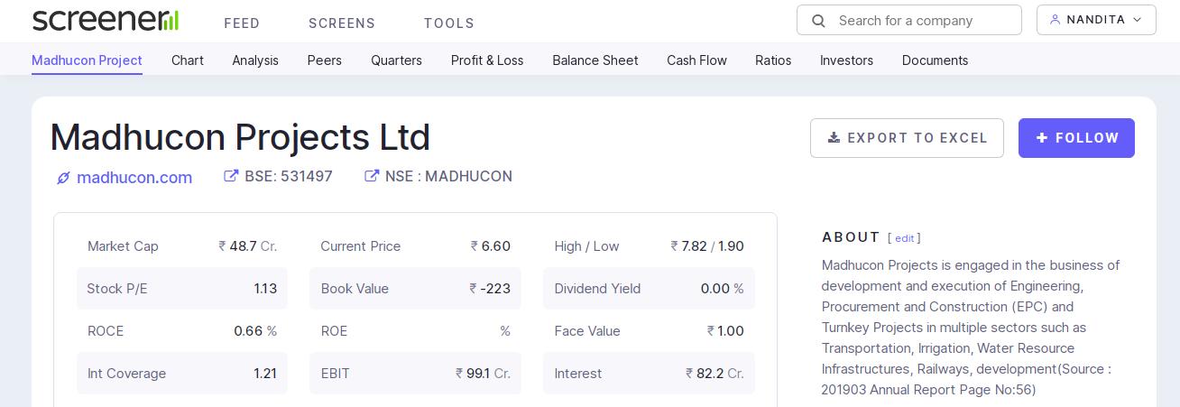 The screener.inwebsite to do company's fundameltal stock analysis