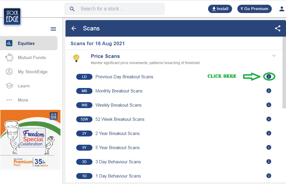 Stockedge premium price scan.