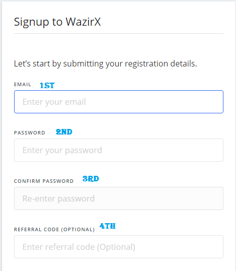 Account opening on wazirx.in