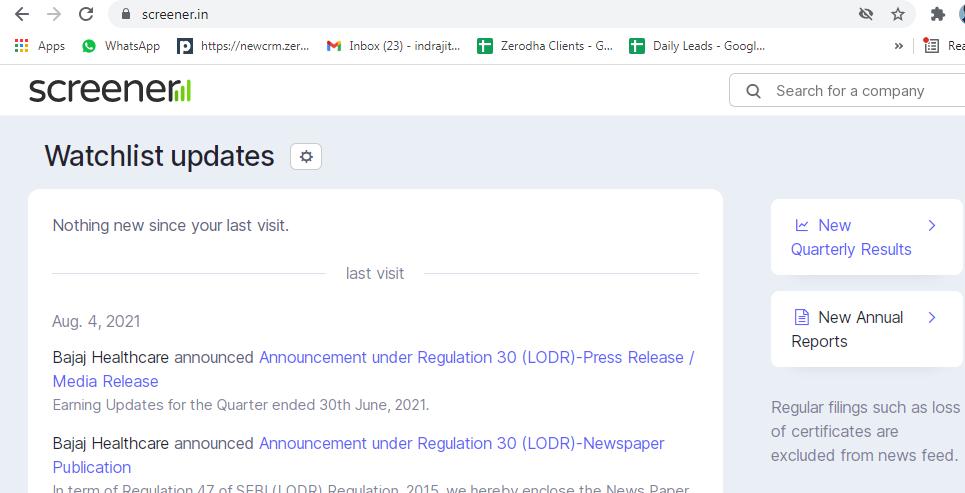 screener.in the efficient website.