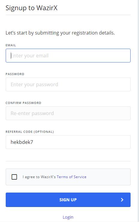 login with wazirx referral code